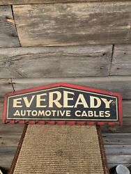 Vintage Eveready Battery Cables Advertising Service Station Sign