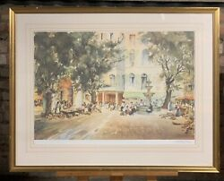 A Wonderful Large Print Of A Continental Piazza Scene Signed By A William Brown