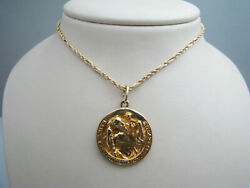 B480 Religious Saint Christopher Protect Us Pendant And Chain