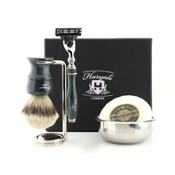 Mens Shaving Kit For Beard And Mustache, Clean And Head Shave Barbers Gift Set 5x