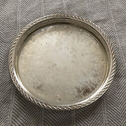 """Wm Rogers And Son Spring Flower Silverplate Reticulated Serve Tray 15"""" Euc"""