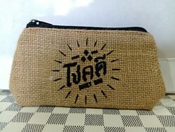 lucky purse bouch men women small wallet with hessian pattern iphone