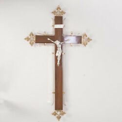 Wood Wall Cross With Silver Plated Corpus - 213s - Crucifix - Jesus - Corpus