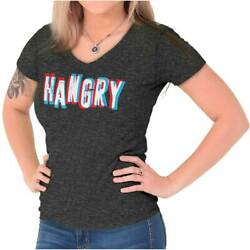 Hungry Angry Hangry Foodie Lover Funny Gift Junior V-Neck T-Shirts Tee Tshirts