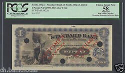 South Africa One Pound Nd1900-20 Ps422ct Specimen Color Trial Aunc