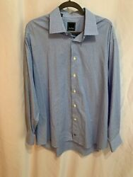 DAVID DONAHUE Men's Dress Shirt  17 12 X 3435 100% Cotton Blue White Check