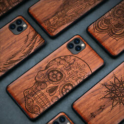 Natural Wood Carving Hybrid Protective Cover Phone Case For Iphone 11 11 Pro Max