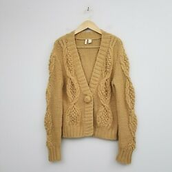 Anthropologie Moth Womens Chunky Cable Knit Camel Sweater Cardigan Sz XL