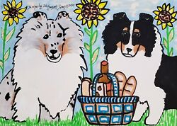 Sheltie At A Picnic Original Painting 5 X 7 By Kimberly Helgeson Sams Collie