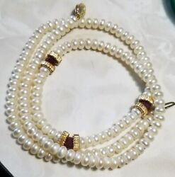 Ross Simons 14k Yellow Gold White Button Pearl Red Ruby Station Beaded Necklace