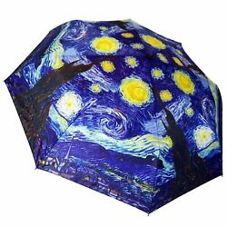Van Gogh Starry Night 12 Compact Collapsible Auto Open And Close Premium Umbrel