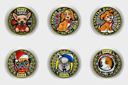 Set Of 6 Coins 10 Rubles Beautiful Cute Dogs. Unc