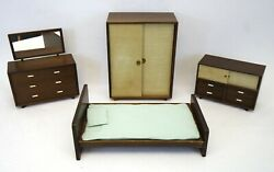 Rare Vtg 1950and039s Red Robin Wooden Dollhouse Bedroom Set | Made In Japan