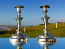 British North American Royal Mail Line Cunard 1860/9 Plated Pair Of Candle Stick