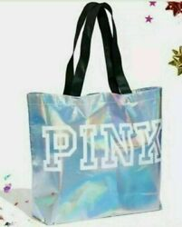 New Victoria's Secret Pink Iridescent Silver Reusable Tote Bag Great Gift
