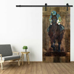 Horse Racing - Hand Painted Barn Door With Track - Hand Built And Signed By Artist