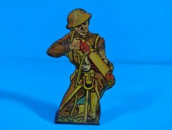 Marx Tin Lithograph Toy - Machine Gun Unit Private- 25 Pts - Soldiers Of Fortune