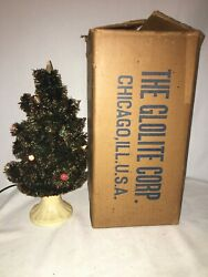 Vintage Glolite Corp Table Top Visca Christmas Tree With Light Bulb Base And Box