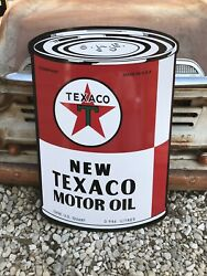 Antique Vintage Old Style Texaco Oil Can Sign.