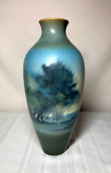 Rookwood Pottery Tall Decorated Scenic Landscape Vase By Fred Rothenbusch Nice