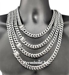 Mens Miami Cuban Link Chain Solid Stainless Steel Necklace Or Bracelet Jewelry