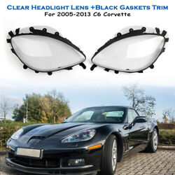 Clear Headlight Lens Replacement And Black Gaskets Trim Kit For 05-13 C6 Corvette