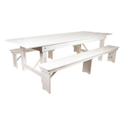 9and039 X 40and039and039 Rectangular Antique Rustic White Folding Farm Table With Two Bench Set