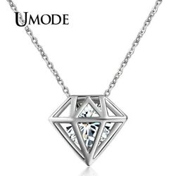 UMODE Cute Hollow Round Cut Clear Zirconia Necklace White Gold Color Necklace..