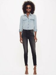 Nwt Mother Denim High Waisted Looker Ankle Fray Night Hawk Washed Black 228