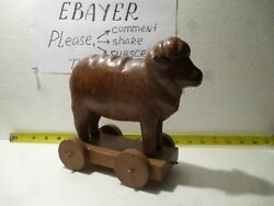 Rare Unusual Wooden Lamb Pull Toy From 1940s Fantastic Condition