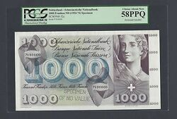 Switzerland 1000 Francs Nd1954-74 P52s Specimen Perforated About Uncirculated