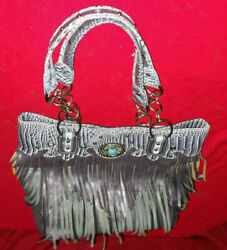 Cowgirl Trendy Womens Designer Purse  Bag Concealed Carry Fringe Turquoise stone $27.00