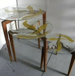 Gio Ponti Style Set Of 3 Nesting Side Tables W/ Art Glass Top And Tapered Legs