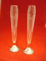 Vintage Pair Of Sterling Silver And Crystal Bud Vases With Etched Floral Design