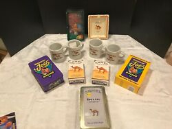 camel Cigarettes Lot 2 Ashtrays 3 Tins With Matches, 2 Games, 4 Mugs