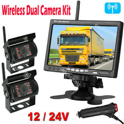 Wireless Dual Rear View Camera Kit For Harvester Truck Rvs 7 Car Backup Monitor