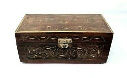Ancient Wooden Hand Carved Brass Wired Fitted Floral Design Perfume Jewelry Box