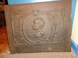 Antique 18th.c Cast Iron European Fireplace/furnace Stove Plate Profile Of A Man