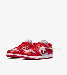 Nike X Off-white Dunk Low Leather Lthr Red Grey Unlv The 10 Ten Virgil Abloh 9.5