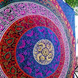 Hippy Mandala Bohemian Tapestry Indian Dorm Decor Ethnic Purple 85 x 55 Inches