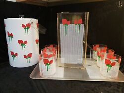 H.j. Stotter Acrylic Pitcher, Tumblers, Tray And Ice Bucket Set, Summer, Bbq