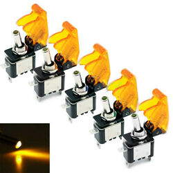 5 Pcs 12v 20a Yellow Cover Led Light Toggle Switch Spst On/off For Car Auto Boat