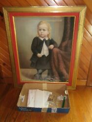 19th Century Large Pastel Portrait Painting Mary Catherine Weimer Idand039d W/ Photo