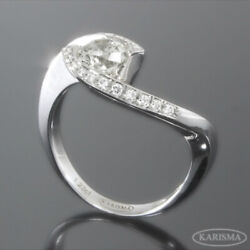 Diamond Ring Round Anniversary Accents 18 Kt White Gold Womens Size 6.5 8 9