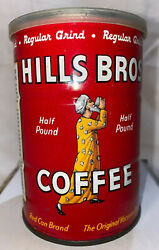 Vintage Hills Bros Brothers Coffee Can 1/2 Lb Tin W/lid