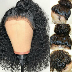 100 Real European Human Hair Wigs 360 Lace Front Wig Deep Wave Cury Off Black H