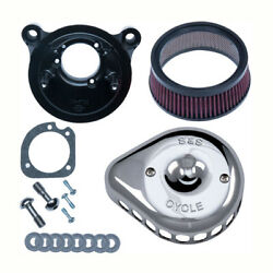 S And Stealth Air Filters Mini T.chrome For Harley-davidson Dyna Flt