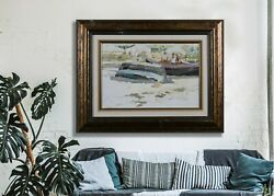 Landscape Boats On The Shore Oil Painting Impressionism Art And Collectibles