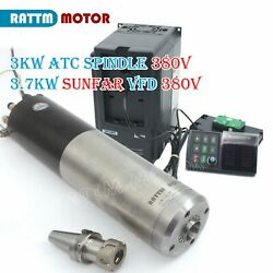 3kw Water Cooled Cnc Automatic Tool Change Atc Spindle Motor Bt30+3.7kw 380v Vfd