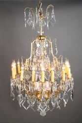 F-me-55 French Prisms Chandelier Lamp Light In Louis Xv Baroque Style